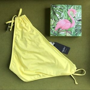 Mossimo lemon yellow key hole tie bikini bottom NWT